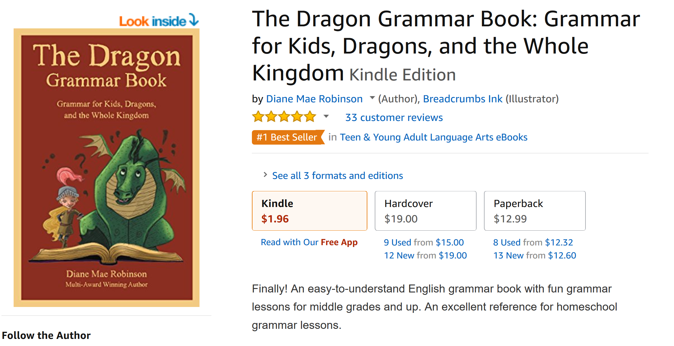 AmazoncomScreenshot_2018-07-13 The Dragon Grammar Book Grammar for Kids, Dragons, and the Whole Kingdom - Kindle edition by Diane Ma[...]